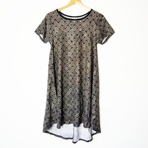 LuLaRoe Elegant Carly Metallic Gold Floral Dress